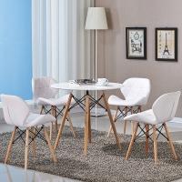 百思宜 餐桌椅现代简约洽谈桌椅组合 北欧休闲接待会客商务桌椅套装 80cm白色圆桌(一桌3椅)