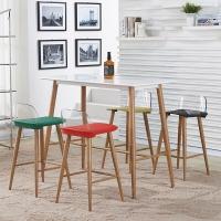 百思宜 现代简约吧台桌椅组合 长方形酒吧桌椅创意铁艺复古高脚椅子  120*60白色/4椅(颜色请备注)