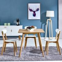 百思宜 北欧现代简约饭桌餐桌长方形桌子洽谈桌 原木色 贴皮桌面80cm*80cm(不含椅子)