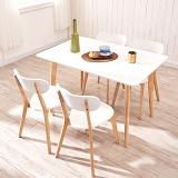 A家家具 餐桌椅组合 北欧实木餐桌日式餐桌简约餐桌椅 原木色 一桌六椅  ADC-33
