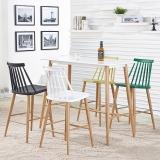 百思宜 吧桌吧椅组合 长方形休闲吧酒吧桌椅咖啡厅高脚桌椅 白色120*60(一桌四椅)