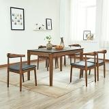 A家家具 餐桌 火烧石实木餐桌椅餐组合  蜡木实木款 单餐桌 DC2207