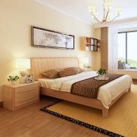 A家家具 床 实木床 简约枫木卧室婚床1.8米双人床 框架床+床头柜*2 Y3A0102-180