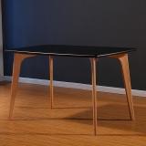 百思宜 餐桌现代简约饭桌欧式北欧小户型奶茶店简易方桌长桌 120*80黑色
