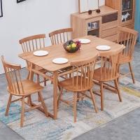 中伟木餐桌椅现代小户型白橡木双层餐椅组合北欧长方形简约一桌六椅原木色1600*800*750 双层桌