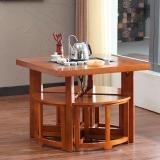 粤顺实木茶桌 橡胶木茶几 茶桌椅组合X002