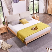 A家家具 北欧床 实木双人床 单人排骨架简约主卧卧室家具 1.8米框架床   单床+床头柜*1 DH103-180