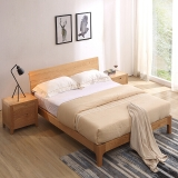 A家家具 北欧实木床 双人床1.8米卧室婚床现代简约 架子床 1.8米床+床头柜*1+床垫*1  BA002-180