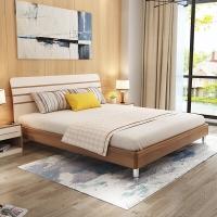 A家家具 床 现代简约卧室双人床 1.8米板木实木床 梨木色 A008-180