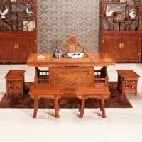 粤顺红木茶桌 花梨木茶桌椅组合 实木战国茶桌六件套H005