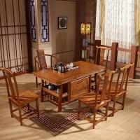 中伟实木茶桌椅组合功夫茶桌中式茶几桌实木茶台1480*780*720