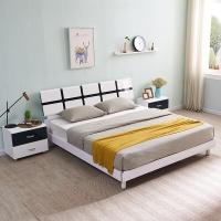 A家家具 床 双人床 现代简约卧室家具1.8米单人床 板木结合黑白套系烤漆 床+床垫*1+床头柜*2 HB101-180