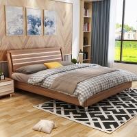 A家家具 床 实木床 1.8米双人床现代简约卧室婚床 架子床 床+床头柜*1床垫*1 A001-180