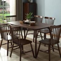中伟餐桌家用餐桌椅组合实木餐桌椅北欧现代简约1500*805*750含6椅胡桃色
