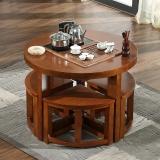 粤顺实木茶桌 橡胶木茶几 功夫茶桌椅组合X001