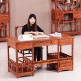 粤顺红木电脑桌 花梨木办公桌 中式实木办公桌椅组合YS2002