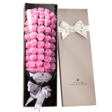 I'M HUA HUA51朵粉色玫瑰花香皂花礼盒七夕情人节礼物纪念日生日礼物送女生送女友