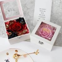 姻唯愛 粉色皮革永生花玫瑰花禮盒保鮮花速遞同城生日禮物教師節禮物紀念日送女生女友