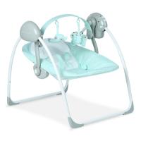 Babyruler婴儿电动摇椅 宝宝安抚摇椅秋千摇篮 折叠躺椅秋千 CS6609 浅绿色(外接电源版)