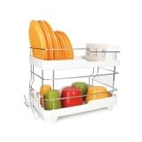乐扣乐扣 双层晾碗架 不锈钢沥水架 多功能厨房置物架收纳架 LDR2001WW 白色