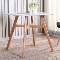 百思宜 北欧现代简约洽谈桌椅组合 实木休闲小桌子圆桌小户型餐桌 白色80*80cm(不含椅子)