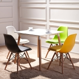 百思宜 餐桌小户型饭桌现代简约长方形咖啡厅售楼处接待洽谈桌子 80*80白色方桌(不含椅)
