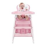 爱音(Aing)儿童餐椅 多功能分体组合椅/可变书桌躺椅/宝宝餐椅/ 婴儿餐椅学习桌C011奶昔粉