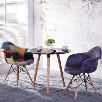 百思宜 洽谈桌餐桌北欧创意小圆桌现代简约咖啡厅餐饮店圆形桌子 三腿圆桌80cm黑色(不含椅子)