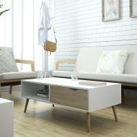 慧乐家 边桌茶几 小户型客厅家具 艾克妮北欧创意带抽方形茶几 现代简约咖啡桌 100*50cm  木纹色 11370