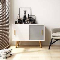 慧乐家 边几 实木北欧沙发边柜 现代简约带门储物柜餐边柜 白色+灰色 11373