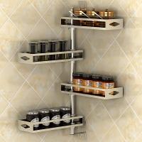 艾心依然 304不锈钢手工双面拉丝  厨房转角调料架 免打孔置物架收纳架 墙上置物架四层