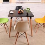 百思宜 餐桌小户型饭桌现代简约长方形咖啡厅售楼处接待洽谈桌子 80*80黑色方桌(不含椅)