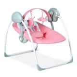 Babyruler婴儿电动摇椅 宝宝安抚摇椅秋千摇篮 折叠躺椅秋千 CS6609 浅粉色(外接电源版)