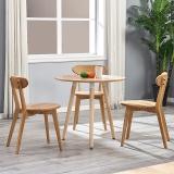 百思宜 洽谈桌餐桌北欧创意小圆桌现代简约咖啡厅餐饮店圆形桌子 三腿圆桌60cm原木色(不含椅子)