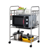 艾心依然厨房置物架 微波炉架落地304不锈钢多层厨房用品收纳架子 3层送6个挂钩