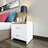 HMJIA 床头柜 简约床头柜带圆角仿实木抽屉柜两抽收纳柜白色+胡桃色