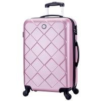 博兿(BOYI)拉杆箱24英寸男女双轴承万向轮旅行箱钻石纹系列行李箱 BY12002玫瑰金