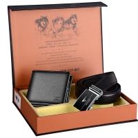 七匹狼腰带礼盒套装 头层牛皮短款男士钱包+自动扣牛皮皮带时尚送礼精装礼盒L2704