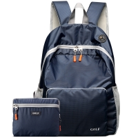 高尔夫GOLF双肩包可折叠电脑背包书包14英寸大容量防水轻便收纳携带户外旅行包D5BV82732S深蓝色