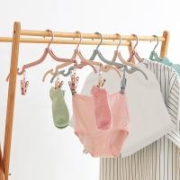 班哲尼 小麦洗漱系列 旅行便携式折叠衣架带夹子多功能魔术伸缩晾衣服撑子 2个装 颜色随机