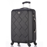 博兿(BOYI)拉杆箱24英寸男女双轴承万向轮旅行箱钻石纹系列行李箱 BY12002黑色
