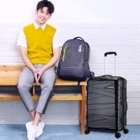 美旅AmericanTourister明星同款拉杆箱 男女学生大容量旅行箱耐磨飞机轮TSA锁 24英寸DX2行李箱黑色