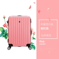 爱华仕(OIWAS)飞机轮拉杆箱6182 商务出差旅行箱 男女休闲旅游登机箱20英寸粉红色