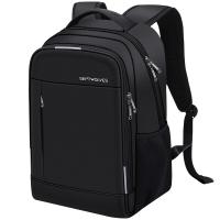七匹狼电脑包男士背包双肩包15.6英寸笔记本防泼水牛津布旅行包大容量升级版 黑色B0301872-201