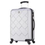 博兿(BOYI)拉杆箱24英寸男女双轴承万向轮旅行箱钻石纹系列行李箱 BY12002银白色