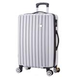 博兿(BOYI)万向轮24英寸拉杆箱时尚轻盈经典条纹行李箱男版商务休闲旅行箱BY-82002银白色