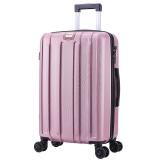 SWISSALPS 万向轮拉杆箱24英寸简约商务休闲行李箱竖纹男女旅行箱 SA-17006 玫瑰金