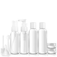 梅罗佩(Merope)化妆品分装瓶喷雾瓶 洗发水沐浴露旅行分装瓶 乳液瓶6件套装 透明色