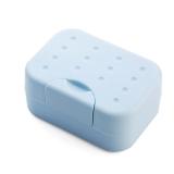 班哲尼 旅行肥皂盒香皂盒便携带锁扣有盖皂盒密封皂架带吸水海绵垫洗脸皂盒 蓝色