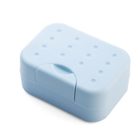 班哲尼 旅行便携带锁扣有盖皂盒密封皂架带吸水海绵垫洗脸皂盒 蓝色